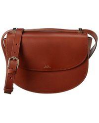 A.P.C. Sac Geneve Leather Crossbody - Brown