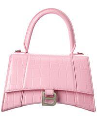 Balenciaga Hourglass Small Croc-embossed Leather Top Handle Satchel - Pink