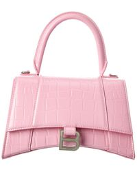 Balenciaga Hourglass Small Croc-embossed Leather Top Handle Shoulder Bag - Pink