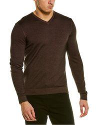 RAFFI Merino Wool V-neck Jumper - Brown