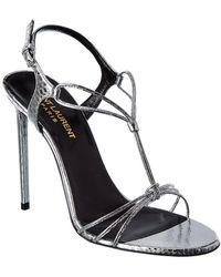 Saint Laurent Robin 105 Leather Sandal - Metallic