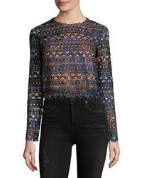 Saloni Crochet Cropped Top - Black