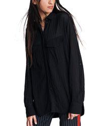 Rag & Bone Florian Button-front Roll-sleeve Shirt - Black