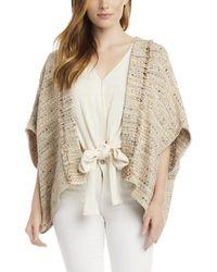 Karen Kane Tweed Kimono Jacket - Brown