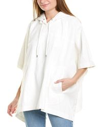 James Perse Hooded Linen Poncho - White