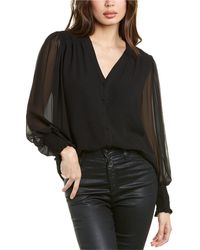 Vince Camuto Smocked Cuff Top - Black
