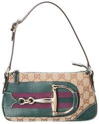 Gucci - Green Leather & Brown Gg Supreme Canvas Hasler Shoulder Bag - Lyst