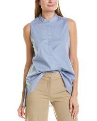 Eileen Fisher Mandarin Collar Shirt - Blue