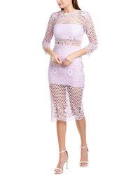 Karina Grimaldi Shell Lace Midi Dress - Purple