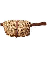 Surell Accessories Straw Fanny Pack - Brown