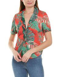 RTA Tropical Print Short Sleeve Shirt - Red