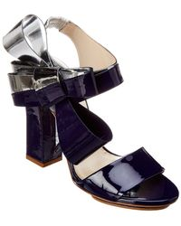 Delpozo Bow Patent Sandal - Purple