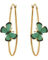 Christina Debs | Chrysoprase Butterflies 18k Gold Hoop Earrings | Lyst