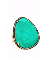 Christina Debs - Hard Candy Green Agate And Diamond Ring - Lyst
