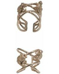 Bernard Delettrez - Bronze Criss Cross Ring With Frogs - Lyst