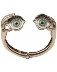 Bernard Delettrez - Bronze Cuff Bracelet With Green Eyes - Lyst