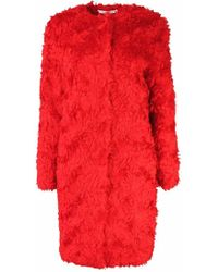 Plakinger | Red Faux Fur Coat With Belt | Lyst