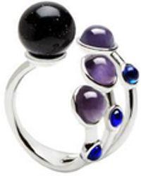 Eshvi | Astro 6c White Rhodium Blue Cabochon Ring | Lyst