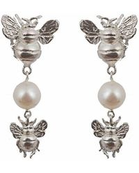 Bernard Delettrez | Silver Earrings With 2 Bees And Pearl | Lyst