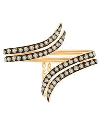 Christina Debs - Double Tattoo Gold And Brown Diamond Ring - Lyst