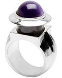 Eshvi | Astro 2c White Rhodium Blue Cabochon Ring | Lyst