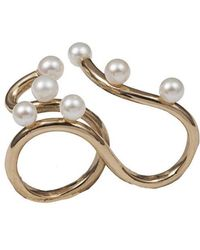 Bernard Delettrez - Bronze Two Finger Ring With 7 Pearls - Lyst