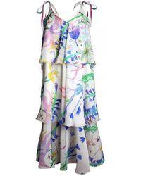 Plakinger - Fantasy Print Silk Georgette Tiered Dress - Lyst