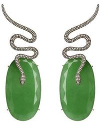 Christina Debs | Snake Green Jade And Brown Diamond Earrings | Lyst