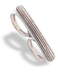 Hissia | Adjustable Rhodium Luna Double Ring | Lyst