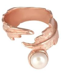 Leivan Kash - Feather Pearl Open Ring - Lyst