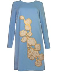 Plakinger - Flower Appliquè Long Sleeve Wool Dress - Lyst