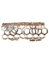Bernard Delettrez - Bronze Articulated Honey Comb Ring With Silver Bee - Lyst