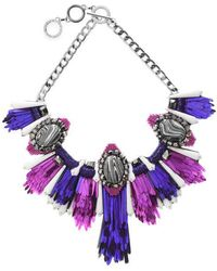 Forest Of Chintz - Disco Jungle Pink Purple Fringe Necklace - Lyst