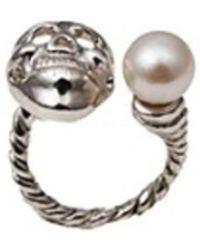 Bernard Delettrez   Skull And Pearl Silver Ring   Lyst