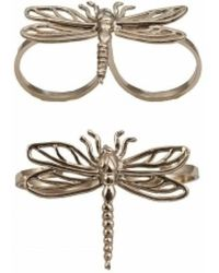 Bernard Delettrez - Two Finger Bronze Ring With Dragonfly - Lyst
