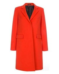 Paul Smith Coral Cashmere And Virgin Wool Epsom Coat - Orange