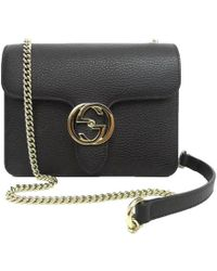 2d79345eacafde Gucci - Black Leather Marmont Interlocking GG Crossbody Bag - Lyst