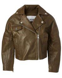 Ganni Leather Cropped Biker Jacket - Brown