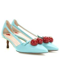 Gucci - Unia Aqua Cherry Leather Slingback - Lyst