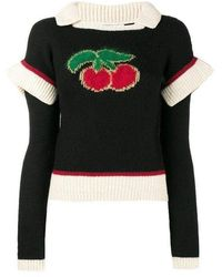 Philosophy Di Lorenzo Serafini Wool Blend Cherry Sweater - Black
