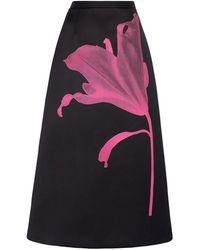 Christopher Kane Printed Floral Satin Skirt - Black
