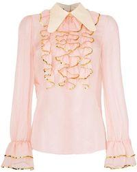 Gucci Sheer Sequin Trim Ruffle Shirt - Pink