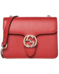 d8a7853c6 Gucci - Red Leather Marmont Interlocking GG Crossbody Bag - Lyst