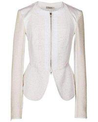 Nina Ricci White Tailored Cotton Lace Back Jacket