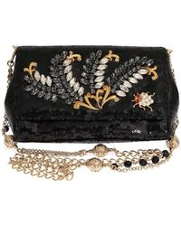 Dolce & Gabbana Black Crystal Sequined Clutch