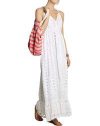 Michael Kors Michael By White Eyelet Maxi Peasant Dress