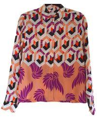 Dries Van Noten Multicolor Floral Geometric Print Silk Shirt - Pink
