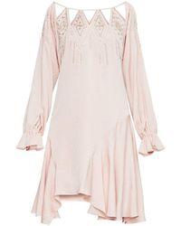 BCBGMAXAZRIA Embellished Cutout-neck Drop-waist Dress - Pink