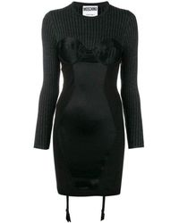Moschino Couture Bustier Knitted And Satin Dress - Gray