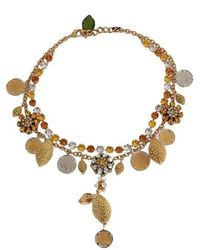 Dolce & Gabbana Gold Brass Coin Charms Necklace - Metallic